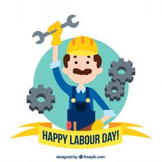 Hand drawn labour day background. Download thousands of free vectors on Freepik, the finder with more than 3 millions free graphic resources Happy Labor Day, Happy Day, Labour Day, Yellow Background, Happy People, Creative Design, Hand Drawn, Vectors, Vector Free