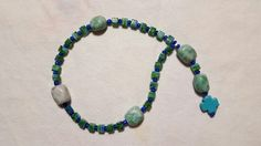 Green square glass beads and stone