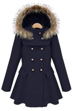 Navy Hooded & Ruffled Coat