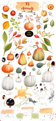 Pumpkin Season Watercolor Collection by Watercolor Nomads on Creative Market