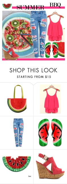 """""""Watermelon Cold Pizza Summer BBQ Style"""" by yours-styling-best-friend ❤ liked on Polyvore featuring House of Holland and Carlos by Carlos Santana"""