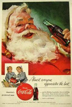Vintage Coke Ads   1955 Coca Cola Ad ~ Classic Santa Drinking Coke, Vintage Coca Cola Ads