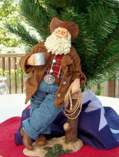 Cowboy Santa with Coffee Cup-Texas Christmas