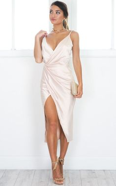 Showpo Yas Queen dress in beige - 6 (XS) Occasion Dresses Beige Dresses, Satin Dresses, Silk Dress, Wrap Dress, Gowns, Formal Dresses, Dress Up, Grad Dresses, Dress Outfits