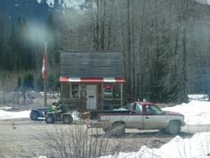 Penny, British Columbia.  I passed through on a train trip to Prince Rupert.  People and  their dogs come in trucks and quads to pick up their mail which is brought by the train.