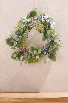 Next Artificial Foliage Wreath - Purple Bouquet, Potted Plants, Plant Pots, Floral Arrangements, Floral Wreath, Wreaths, Purple, Pretty, Flowers