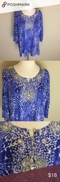 The Quacker Factory Jeweled Top Size 1X Z Quacker Factory Tops Blouses