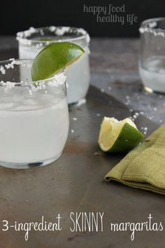 3 Ingredient Skinny Margaritas - The easiest margarita you'll ever taste - under 70 calories!! www.happyfoodhealthylife.com #skinny #margarita #alcohol