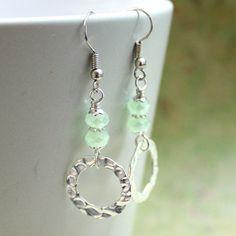 Green Czech Glass Bead Earrings