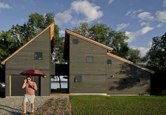 Projector House is a modern two-story lakefront home designed by Cultivation Design Build, located in Thompson's Point, Charlotte, Vermont. New House Plans, Modern House Plans, Modern House Design, Home Building Design, Building A House, Building Homes, Timber Frame Cabin, Vermont, Tiny House Cabin