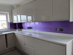 Metallic Purple Splashbacks – Devon. Glass Backsplash Kitchen, Kitchen Cabinets, Glass Splashbacks, Purple Glass, Devon, Metallic, Projects, House, Home Decor
