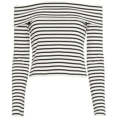 Derek Lam 10 Crosby Striped Off The Shoulder Top ($275) ❤ liked on Polyvore featuring tops, off shoulder long sleeve top, crop top, white long sleeve top, stripe crop top and striped off the shoulder top