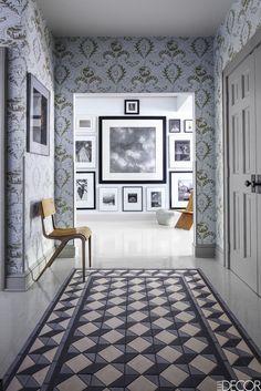 A Pale Blue Entryway - ELLEDecor.com
