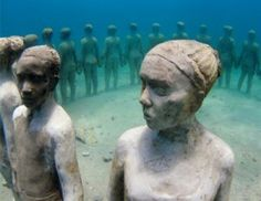 Something to see while snorkeling! The Underwater Sculpute Gardens, in Mexico and Grenada. Designed by British sculptor Jason de Caires Taylor.