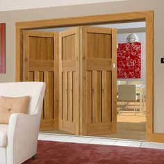 Thrufold Rustic Oak 1930 DX Shaker 3+0 Folding Door - Prefinished.    #1930door #perioddoors   #thrufold #bifold #roomfold #foldingdoors #foldingdoor #directdoors