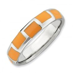 Orange Squares Enameled Sterling Silver Stackable Expressions Ring -  Sterling silver Stackable Expressions ring with enameled orange squares randomly set around the band. Band measures 4.5mm wide. Just one of a growing selection of stackable rings we have available in various sizes!