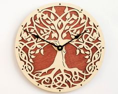 Christmas gift Tree of Life Sacred Geometry Lagre Wall Wall Clock Wooden, Wood Clocks, Clock Flower, Magical Tree, Golden Tree, Unique Clocks, Celtic Tree Of Life, Wall Clock Design, Modern Clock
