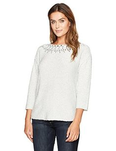 Ruby Rd Womens Embellished BalletNeck Metallic Eyelash Sweater Pullover Winter WhiteSilver LARGE ** Learn more by visiting the image link. (This is an affiliate link)