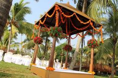 Wedding setup at a Kerala, out in the open air by the backwaters..