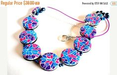 On #Sale Pink and Blue Disc Bead Statement #Necklace by #polymerclaybeads @julielcleveland