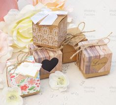 Rustic Vintage Shabby Chic Wedding Favour Boxes - 5 Different Styles