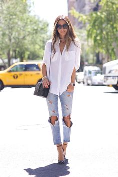 Something Navy - White Button Down + Ripped Jeans waysify