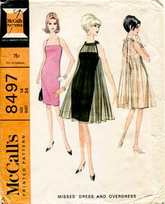 1960s 60s vintage sewing pattern UNCUT Mad Men evening cocktail trapeze dress pleated gathers bust 34 b34 McCall's 8497