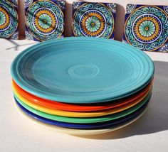 "Fiestaware Plates 9"", SIX Plates In The Six Original Colors, Circa 1936 to 1951, Art Deco Design, Homer Laughlin Fiesta Ware Dishes on Etsy, $110.00"