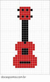 Bobblestitc h using chart for guitar Melty Bead Patterns, Pearler Bead Patterns, Perler Patterns, Beading Patterns, Embroidery Patterns, Perler Beads, Cross Stitch Designs, Cross Stitch Patterns, Pixel Drawing