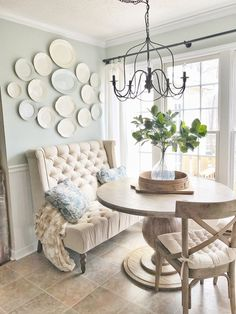 Love the plate wall! Such a serene space.