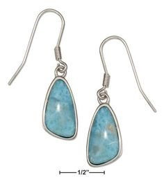 Sterling Silver Freeform Pear Shape Larimar Earrings
