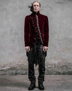 Devil Fashion Requiem Mens Jacket Tailcoat Red Velvet Goth Steampunk Aristocrat… Devil Costume, Sore Eyes, Gothic Steampunk, Black Feathers, High Collar, Black Velvet, Sleeves, Jackets, Clothes