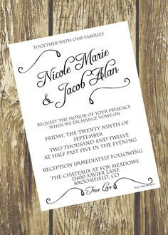 Classic Black and White Wedding Invitation DIY by TinyToadDesigns, $12.00