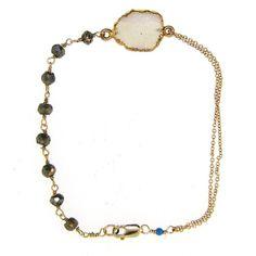 Druzy & Pyrite Bracelet - leMel designs
