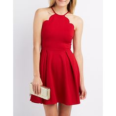 Charlotte Russe Scalloped Bib Neck Skater Dress ($28) ❤ liked on Polyvore featuring dresses, red, charlotte russe dresses and charlotte russe