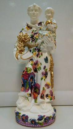Artesanato S. Antônio Em Resina Com Decoupage - Maria Moura - R$ 229,90