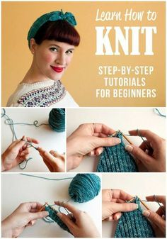 Knitting for Beginners! Learn how to knit with this complete series of step-by-s… Knitting for Beginners! Learn how to knit with this complete series of step-by-step tutorials for every stitch and MORE. via Tuts+ Loom Knitting, Knitting Stitches, Knitting Patterns, Knitting Tutorials, Stitch Patterns, Knitting Ideas, Yarn Projects, Crochet Projects, Sewing Projects
