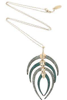 ROBERTO CAVALLI Swarovski crystal-embellished fishbone necklace $905