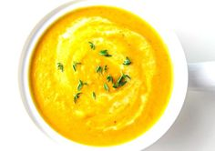 Coconut Curry Butternut Squash Soup that is so simple to make and is under 300 Calories per serving! This is Vegan, Dairy Free, and Gluten Free! | Tastefulventure.com