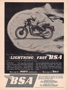 1965 BSA Lightning & move up to a man& motorcycle, move up to a BSA Motorcycle Baby, Motorcycle Posters, British Motorcycles, Vintage Motorcycles, Classic Motors, Classic Bikes, Old Cycle, Bike Poster, Mechanical Art