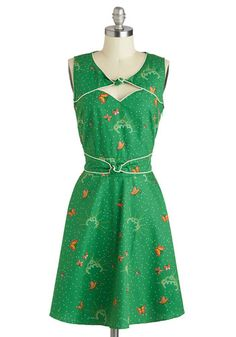 Good Ol Daisy Dress in Grass by Trollied Dolly - Green, Vintage Inspired, 70s, Mid-length, Cotton, Multi, Print with Animals, Cutout, Party, A-line, Sleeveless