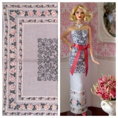 Ooak gray strapless dress and the vintage hankie it was made from