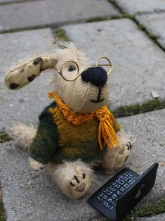 мишки тедди и их друзья. собака Программист . 11 см. Мохер – купить в интернет-магазине на Ярмарке Мастеров с доставкой