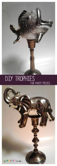 Easy DIY Trophies for Party Prizes - My Craftily Ever After Funny Trophies, Old Trophies, Diy Trophy, Diy Bracelets How To Make, Party Prizes, Bowling Party, Christmas Love, Easy Diy, Dyi