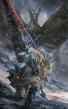 Female monster Hunter - Zinogre set, hunting what appears to be a Kushala Daora