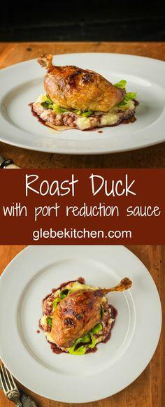 Roast duck legs with port wine reduction sauce