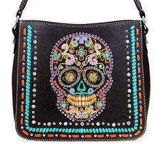 Montana West~Embroider Sugar Skull Shoulder Bag Purse~Bling~Vegan Leather~Gray #MontanaWest #ShoulderBag