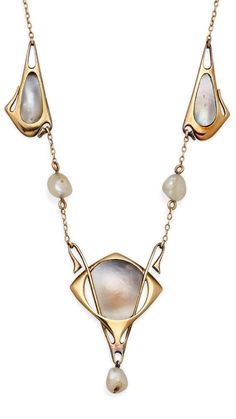 Liberty - An Art Nouveau Cultured Freshwater Pearl, Blister Pearl and Gold Necklace, Circa 1905.