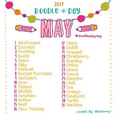 The Doodle a Day May list is here!! Get your art supplies ready and get creative! If you're new to the challenge, welcome! Feel free to jump in whenever you like! Use this list as your daily drawing inspiration. Be sure to tag your doodles with #doodleadaymay so we can all see each other's work. Tag a creative friend! This is a fun exercise to work the right side of the brain. Have fun and don't worry about being perfect! You get mega points just for trying  Happy doodling friends! ✏️