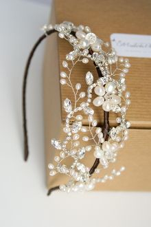 Vintage inspired rhinestone and lace tiara Maria repinned by wedding accessories and gifts specialists http://destinationweddingboutique.com